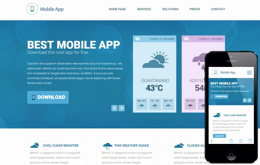 Weather A Mobile App Based Flat Bootstrap Responsive Web
