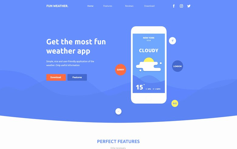 Weather Apps Landing Page Free Bootstrap Template