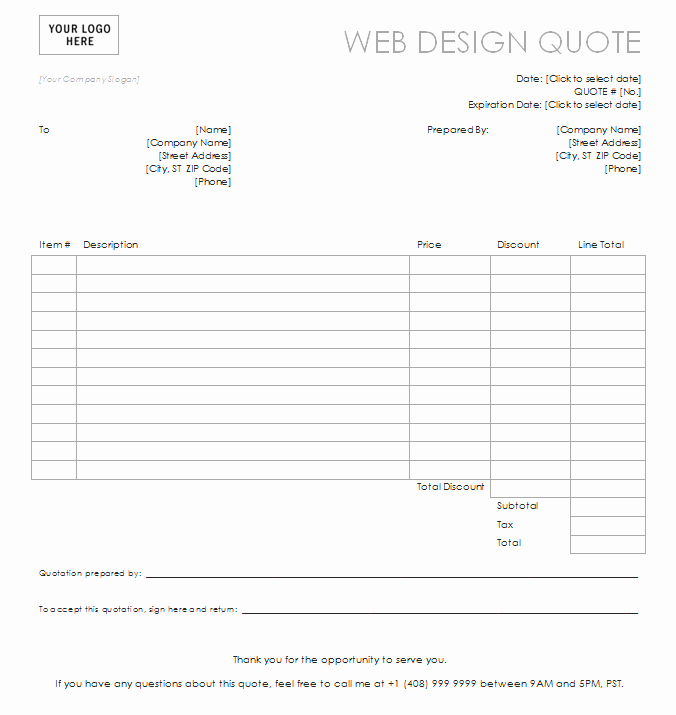 Web Design Quote Template