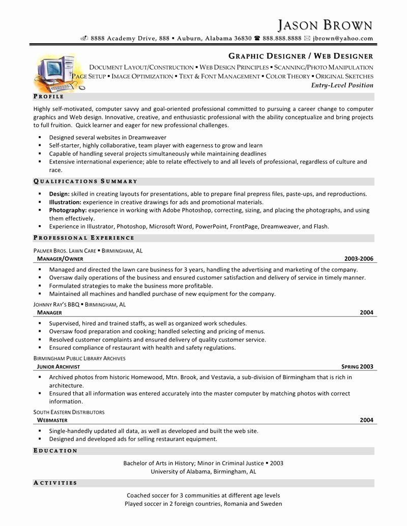 Web Design Resume Sample