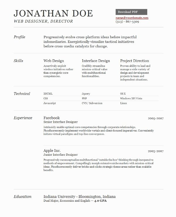 Web Design Resume Template Best Resume Collection