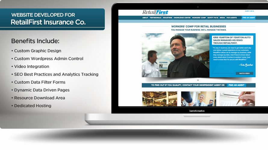 Web Design Retailfirst Insurance Pany Barrett Creative