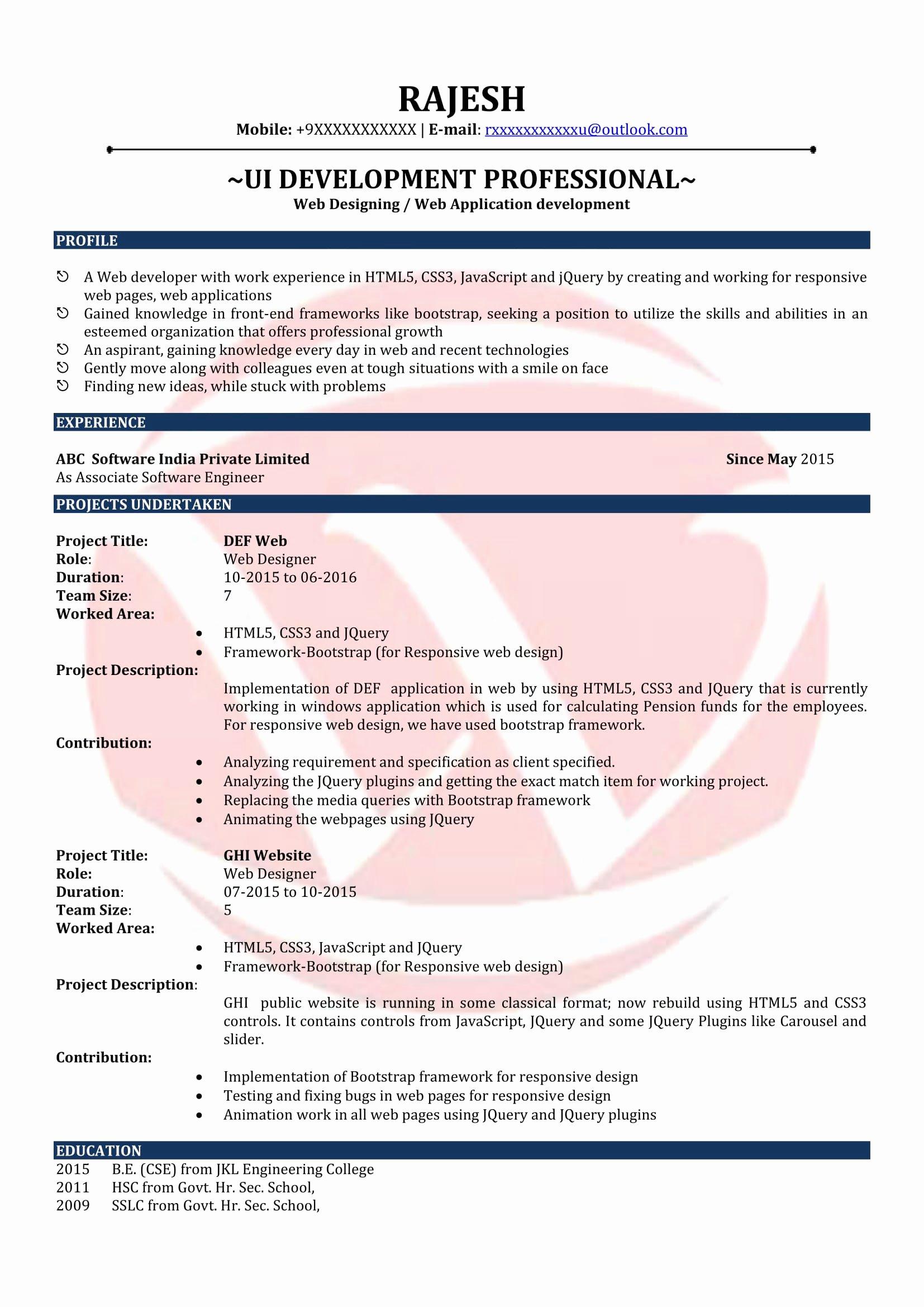 Web Designer Sample Resumes Download Resume format Templates