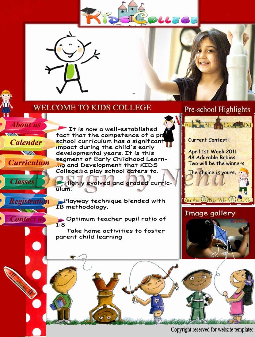 Web Designer Wall Kids Play School Website Template