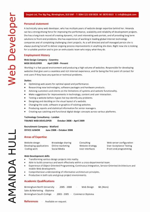 Web Developer Resume Resume Personal Statement