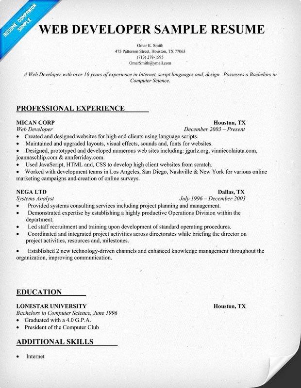 Web Developer Resume Sample Resume Panion