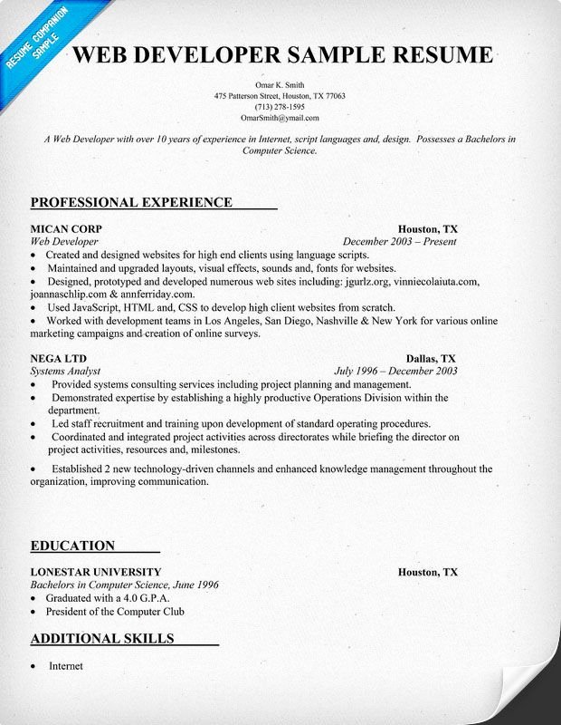 Web Developer Resume Sample Resume Panion