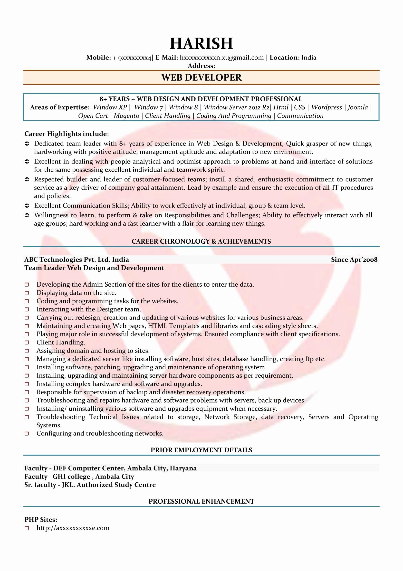 Web Developer Sample Resumes Download Resume format