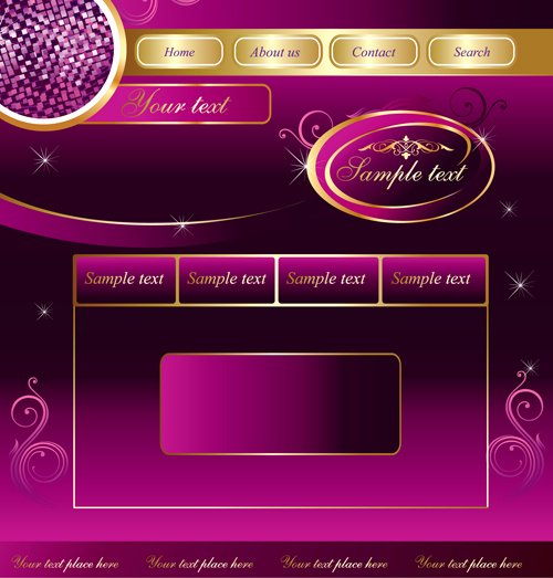 Web Sites Design Template and button Vector Graphic 02