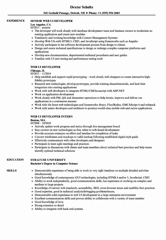 Web Ui Developer Resume Samples