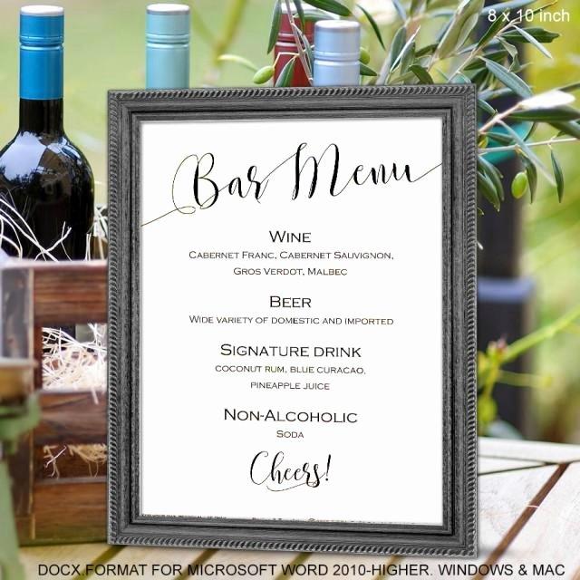 Wedding Bar Menu Sign Printable Bar Menu Template