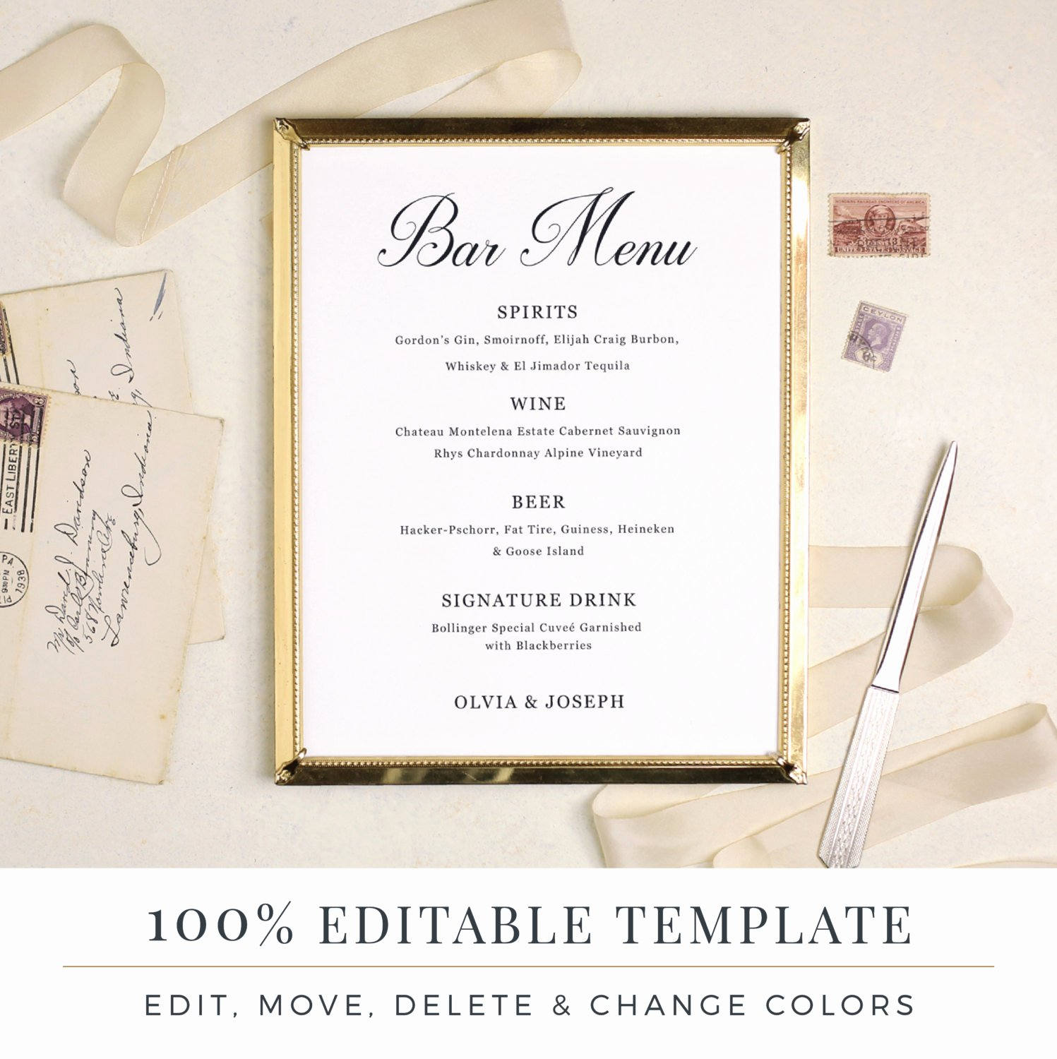 Wedding Bar Menu Template Editable Bar Menu Printable Word