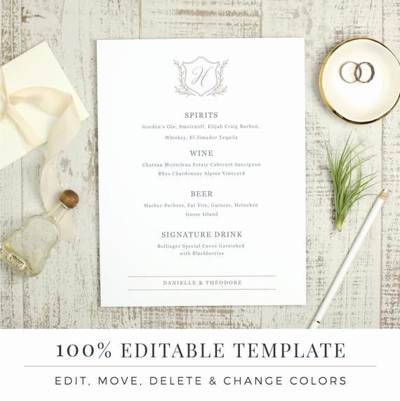 Wedding Bar Menu Template Editable Bar Menu Printable Word
