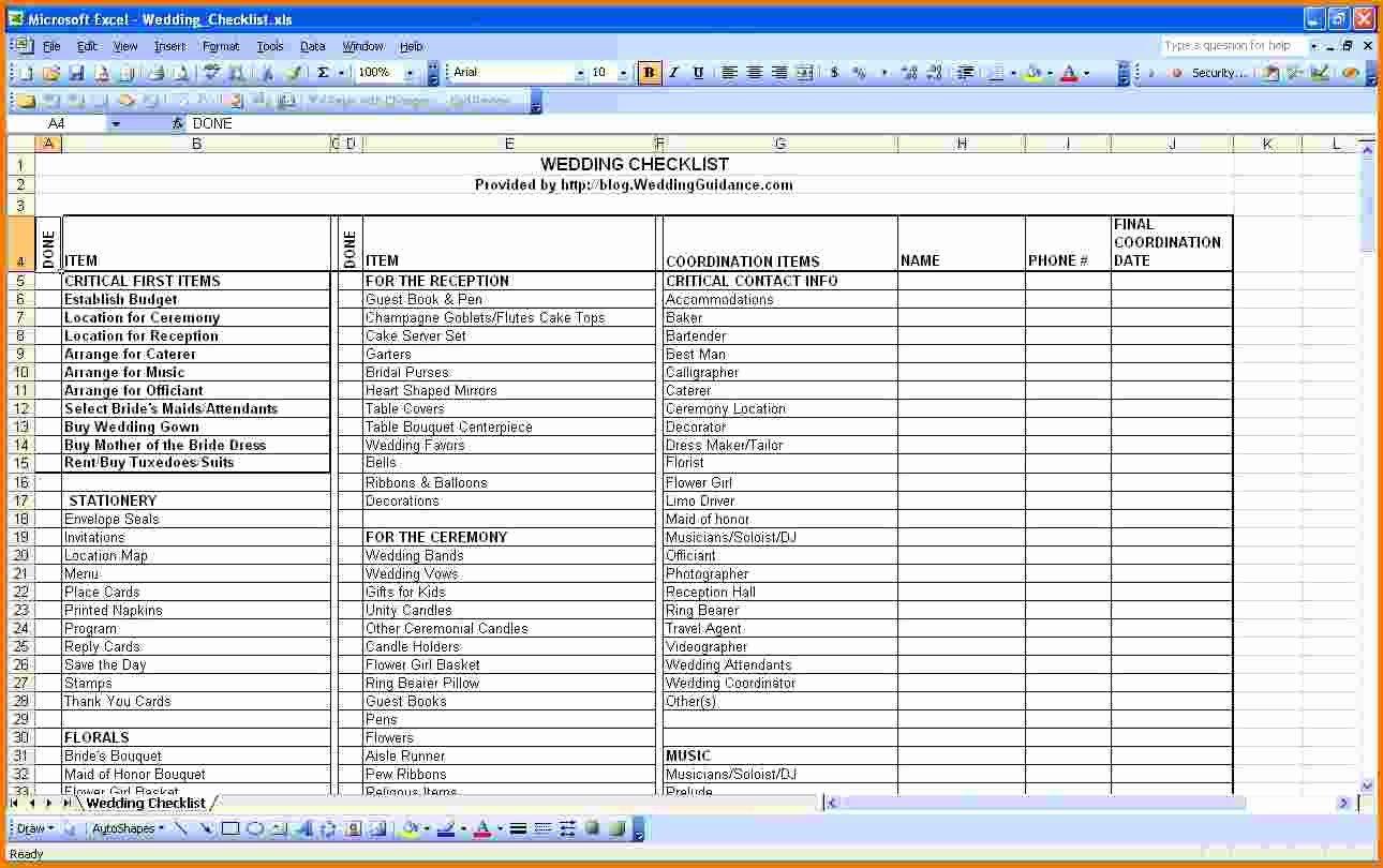 Wedding Bud Excel Spreadsheet Wedding Spreadsheet