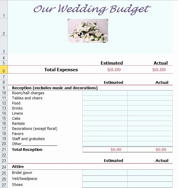 Wedding Bud Planner Template for Excel