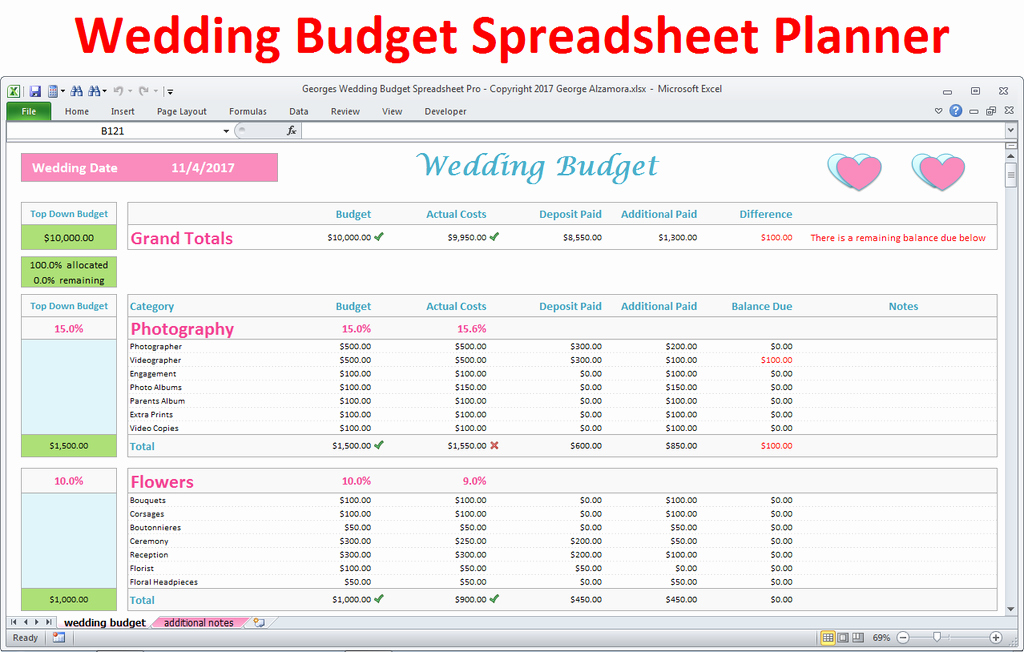 Wedding Bud Spreadsheet Excel Wedding Planner Pro