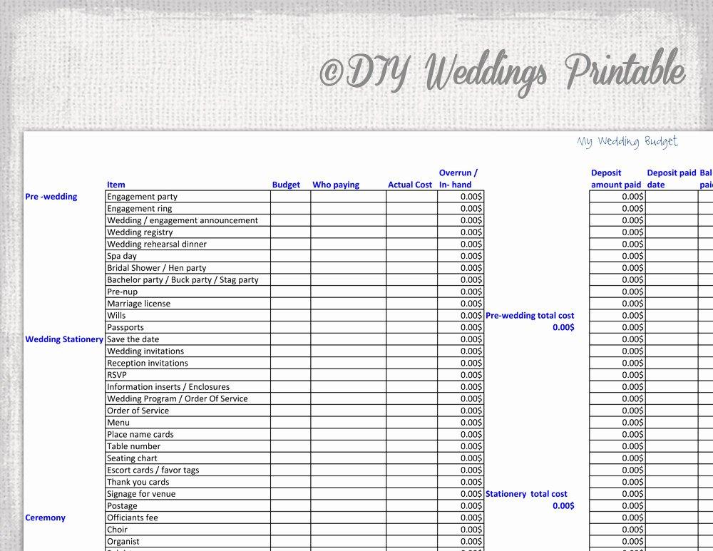 Wedding Bud Spreadsheet Printable Wedding Bud Template
