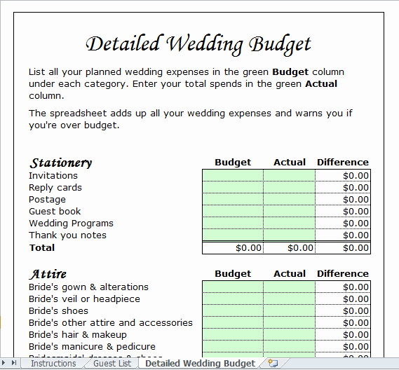 Wedding Bud Template for Excel 2013 Excel Tmp