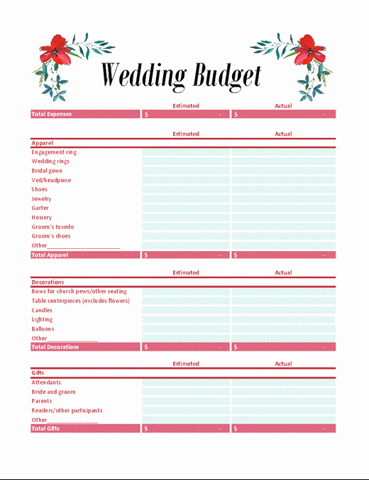 Wedding Bud Worksheet Template Image Collections