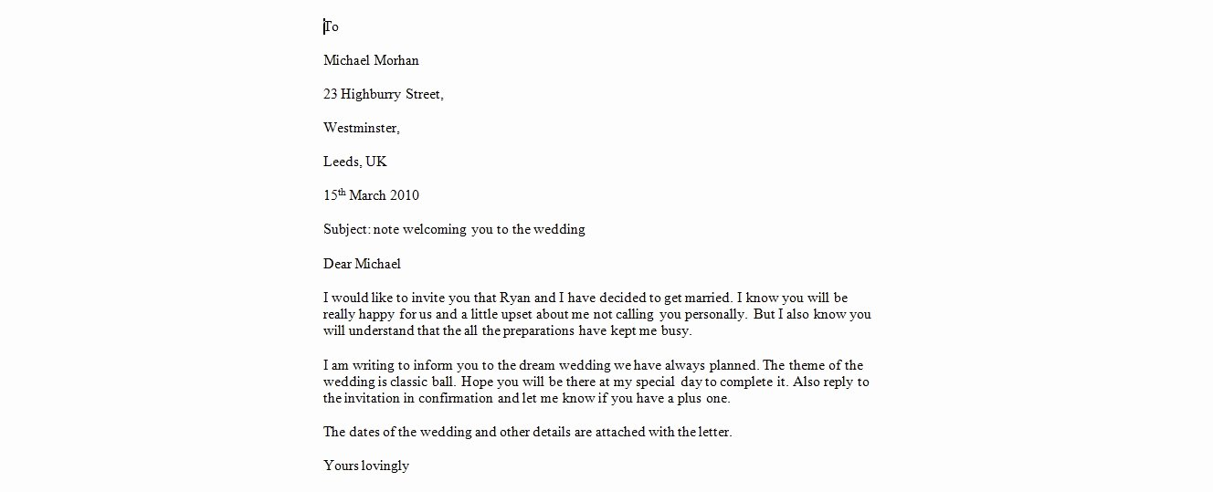 Wedding Cancellation Letter
