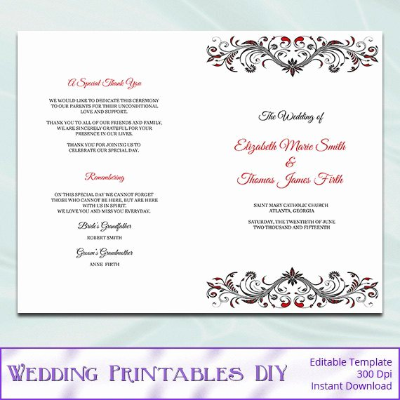 Wedding Ceremony Program Half Fold Templates