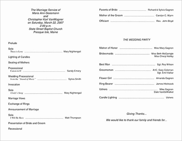 Wedding Ceremony Program Template 36 Word Pdf Psd