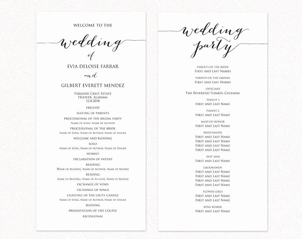 Wedding Ceremony Program Templates · Wedding Templates and