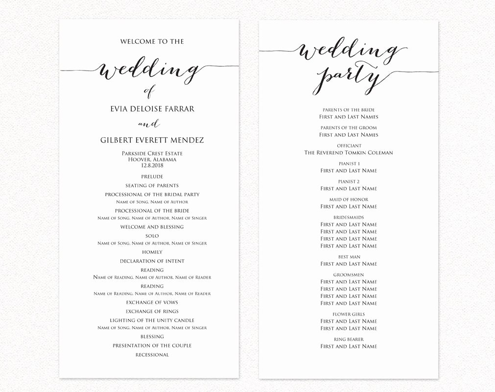 Wedding Ceremony Program Templates · Wedding Templates and