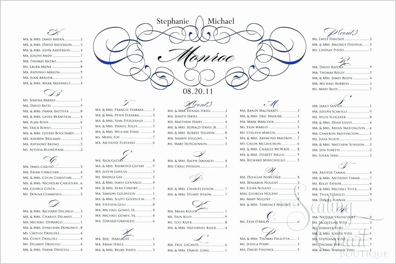 Wedding Ceremony Seating Chart Template Free