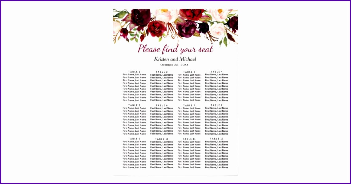 Wedding Ceremony Seating Chart Template Template