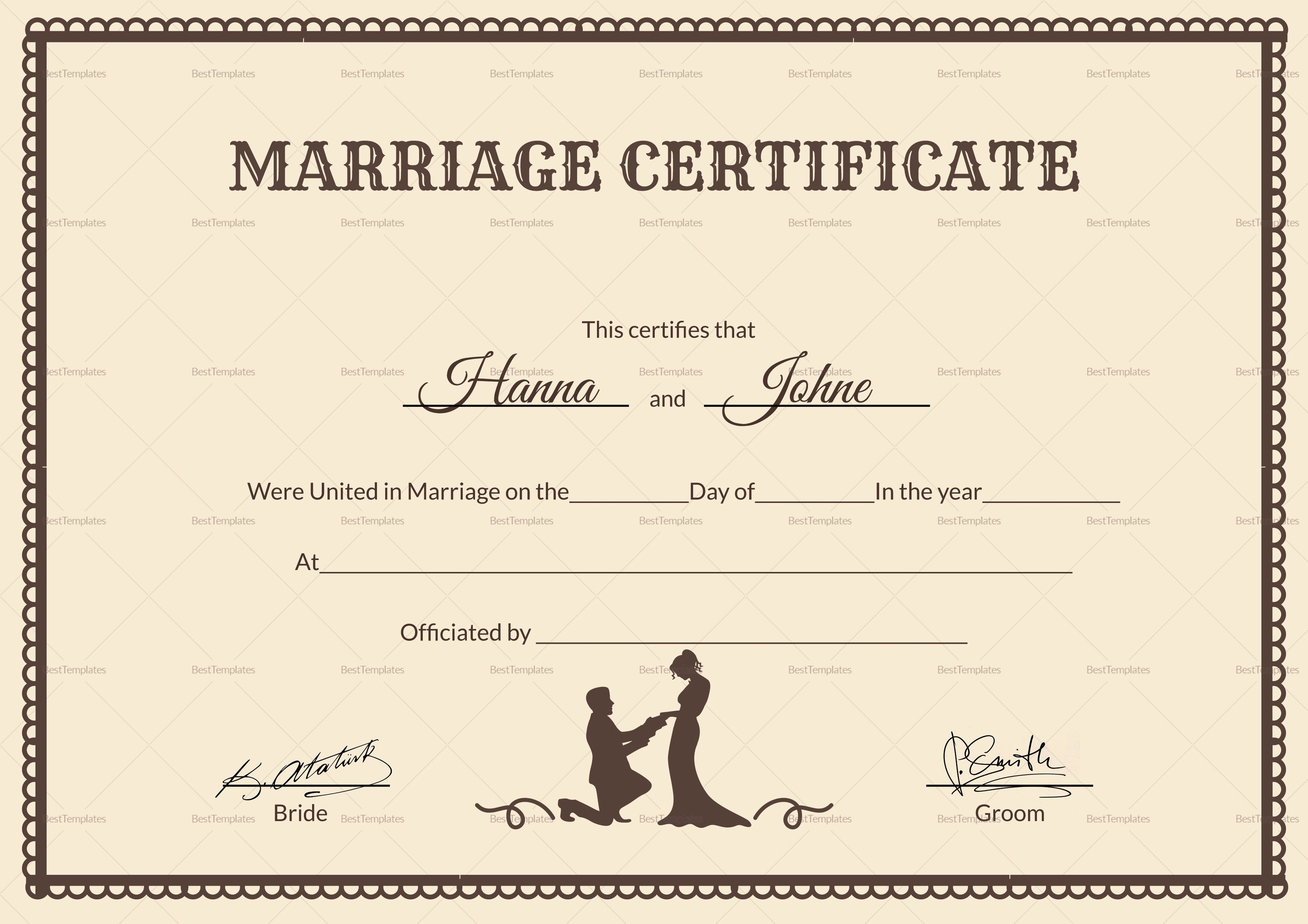 Wedding Certificate Template Word