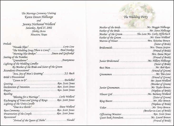 Wedding Collection nowadays Wedding Program Wording