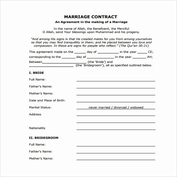 Wedding Contract Template – 9 Free Word Pdf Documents