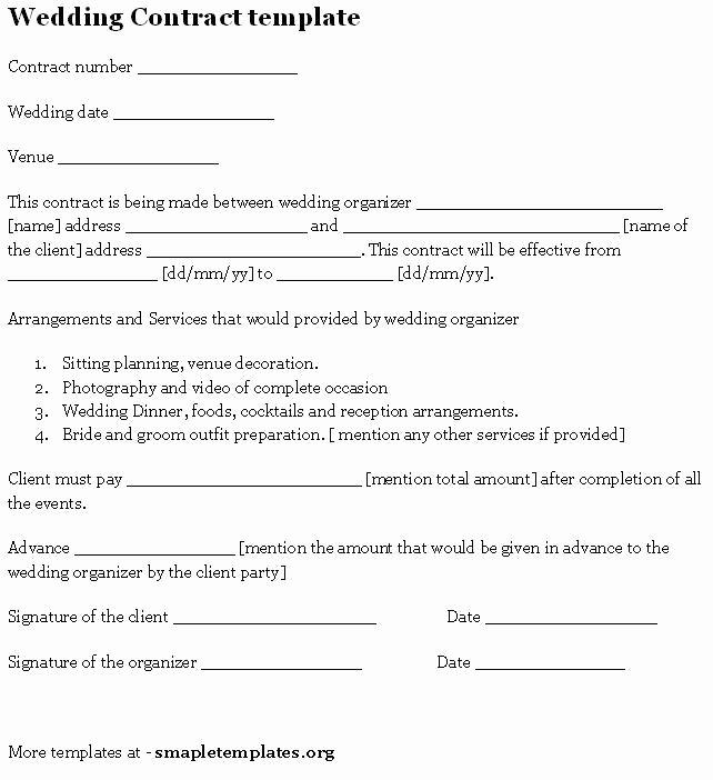 Wedding Contract Template Sample Templates