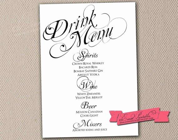 Wedding Drink Menu Template 29 Drink Menu