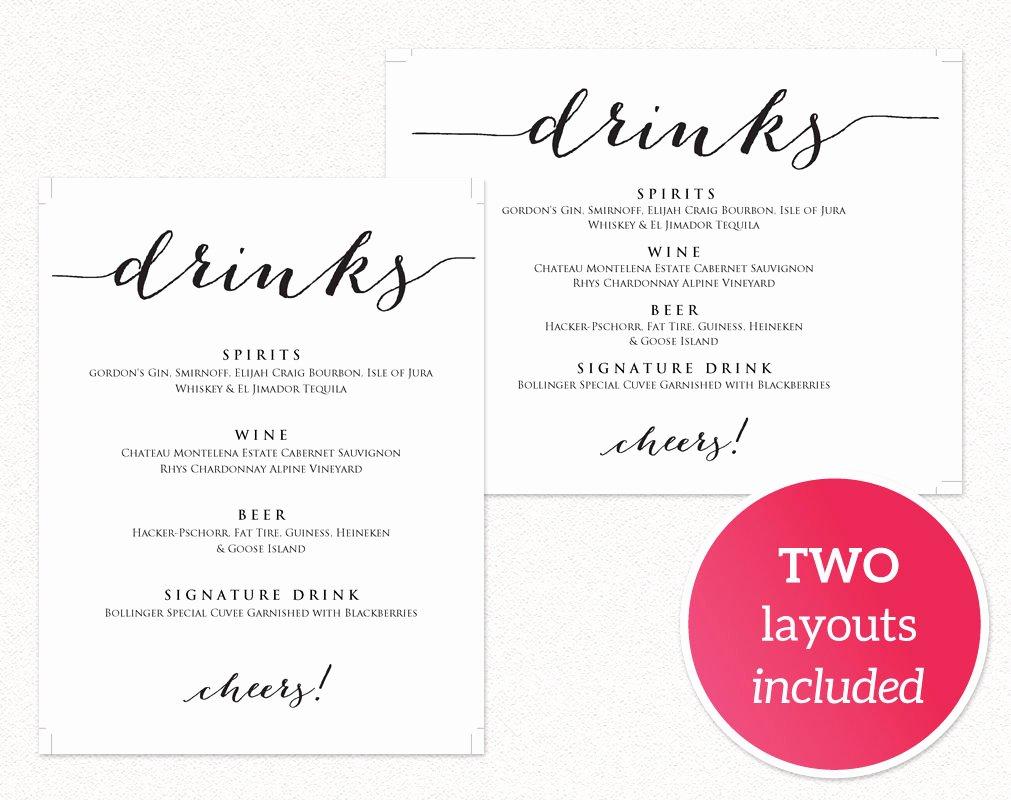 Wedding Drinks Menu · Wedding Templates and Printables