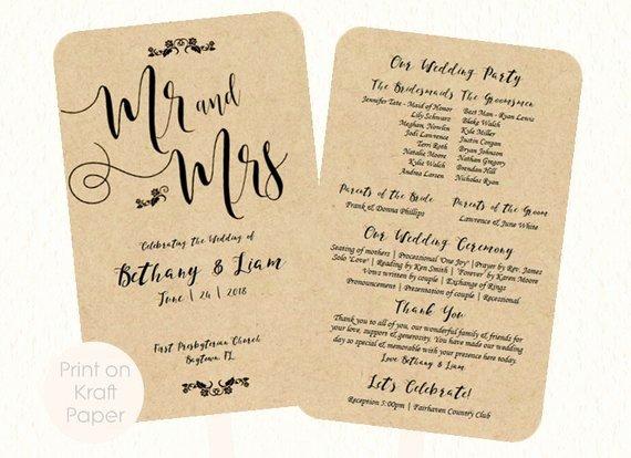Wedding Fan Program Template Mr and Mrs Kraft by