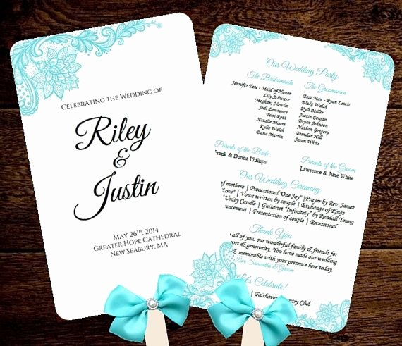 Wedding Fan Program Template Printable Tiffany Blue Fan