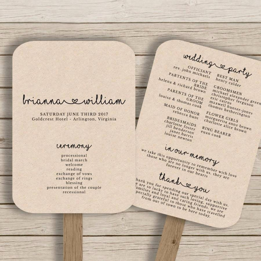wedding fan program template rustic wedding fan printable you edit in ms word diy editable wedding fan print on kraft