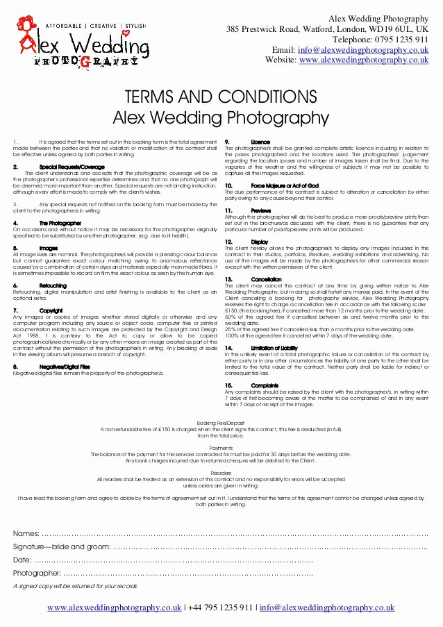 Wedding Graphy Booking form and Contract 2014