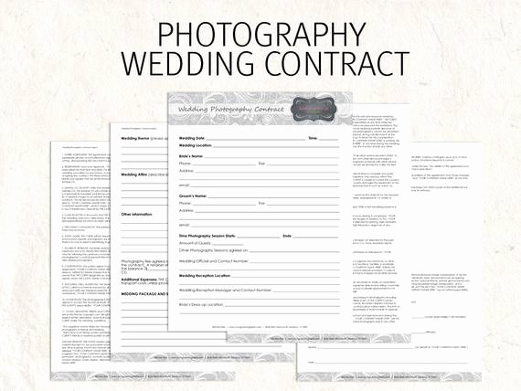 Wedding Graphy Contract Business forms Flowers Editable