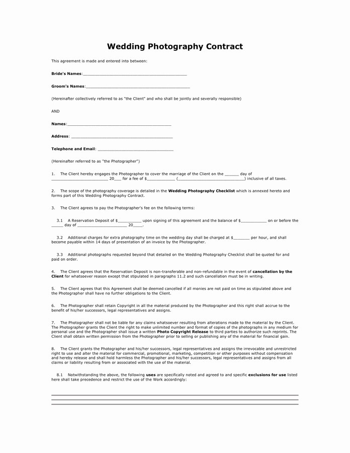 Wedding Graphy Contract In Word and Pdf formats