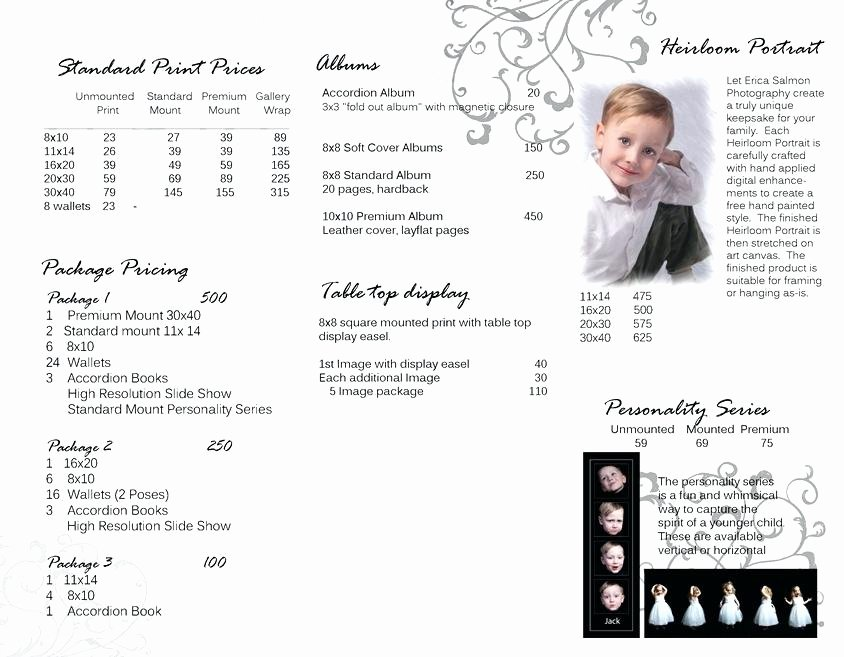 Wedding Graphy Price List Template Word Grapher