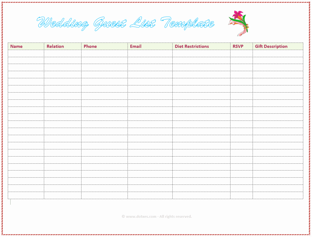 Wedding Guest List Spreadsheet Samplebusinessresume