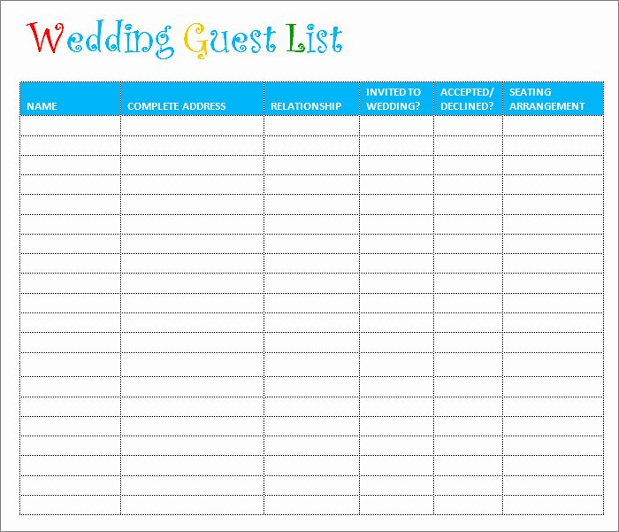 Wedding Guest List Template 6 Free Sample Example
