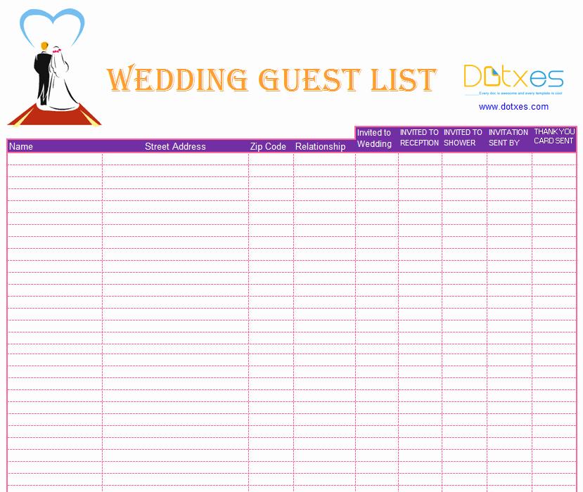 Wedding Guest List Template Beepmunk