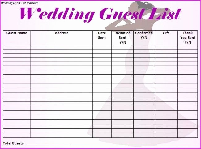 Wedding Guest List Template I Would Make Just A Few More