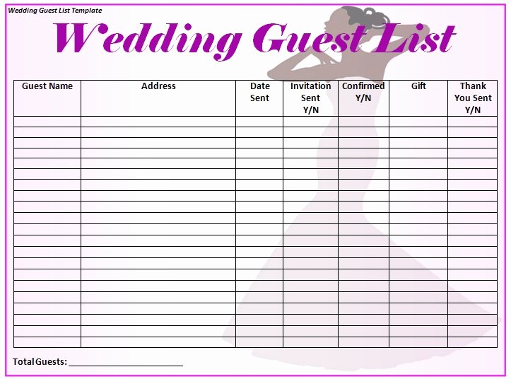 Wedding Guest List Template Word Excel formats