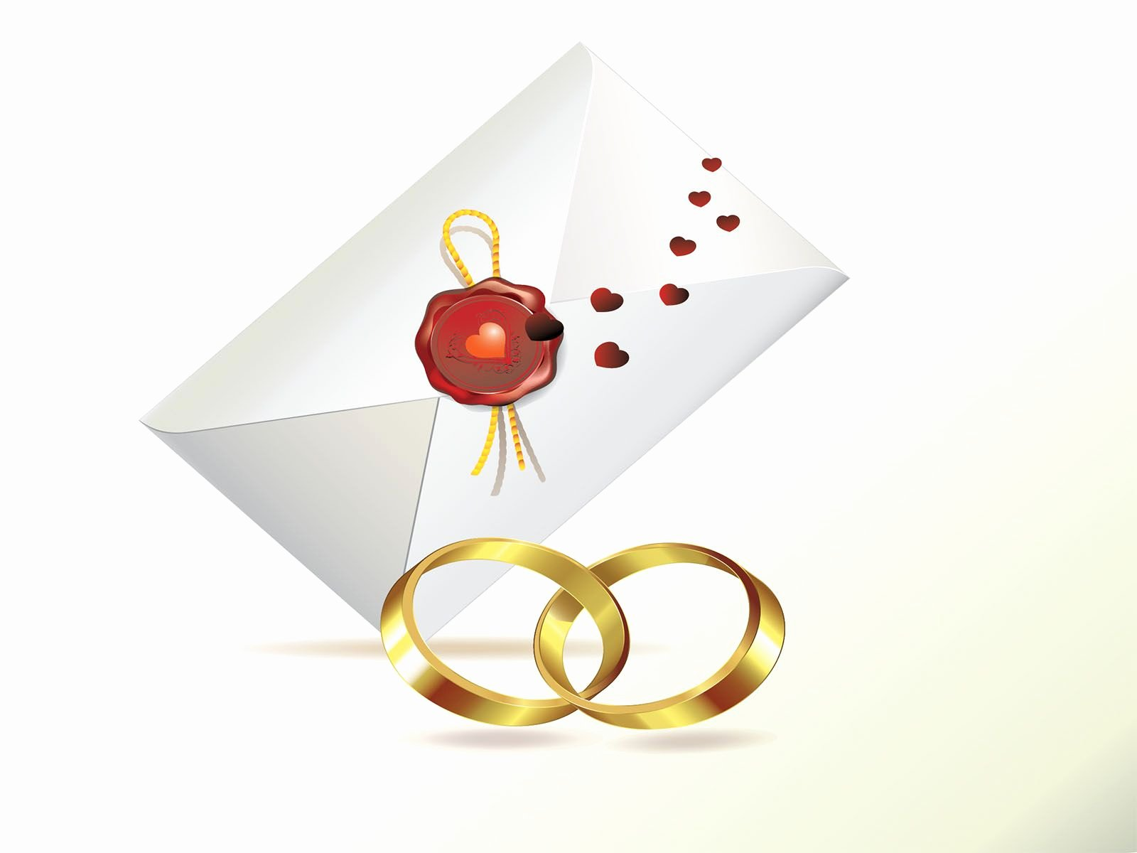 Wedding Invitation and Rings Powerpoint Templates
