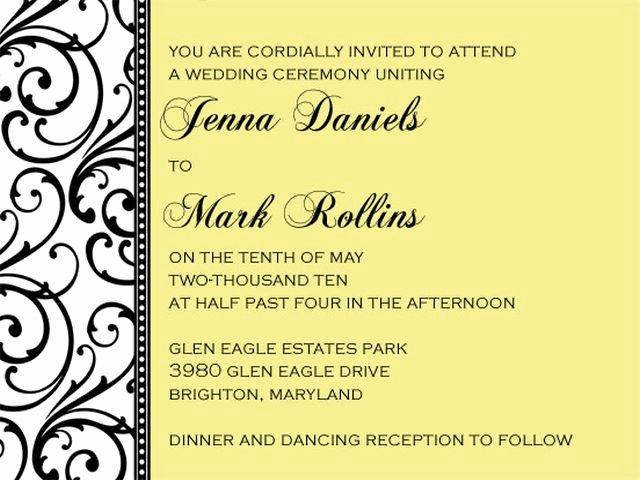 Wedding Invitation format Template